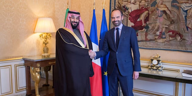 Le prince héritier saoudien Mohammed ben Salmane rencontre le premier ministre français Édouard Philippe, le 9 avril 2018.