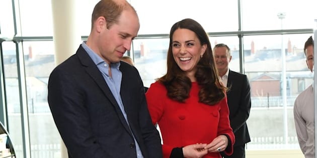 Prince William and Kate Middleton at the National Stadium in Belfast, Northern Ireland, home of the Irish Football Association on Feb. 27, 2019.
