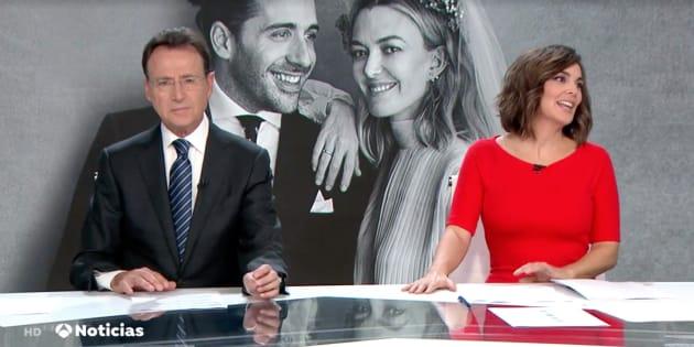Mónica Carrillo y Matías Prats, de 'Antena 3 Noticias Fin de Semana'.