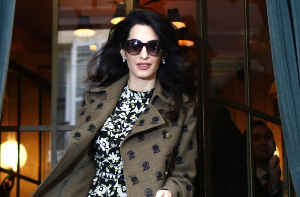 c5b01bcbf4d85 Pregnant Amal Clooney is pretty in pink, chic in black while showing off  baby bump in NYC -- see the pics!