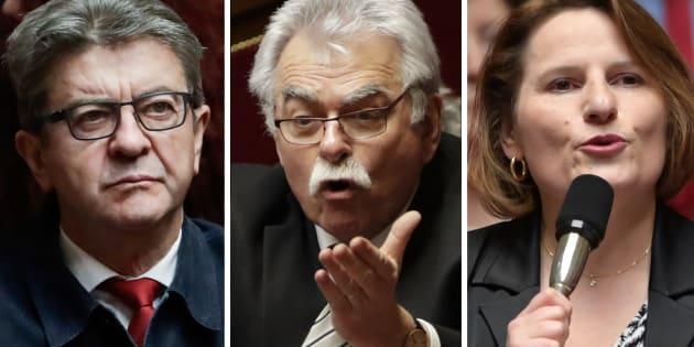 Jean-Luc Mélenchon (LFI), André Chassaigne (PCF) et Valérie Rabault (PS) discutent du dépôt d'une motion de censure suite à la crise des gilets jaunes.