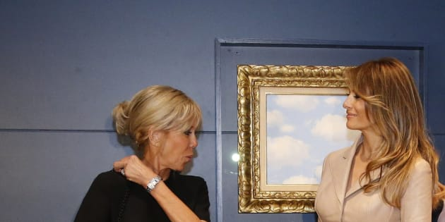 U.S. first lady Melania Trump and France's first lady Brigitte Trogneux visit the Magritte Museum in Brussels, May 25, 2017. REUTERS/Francois Lenoir