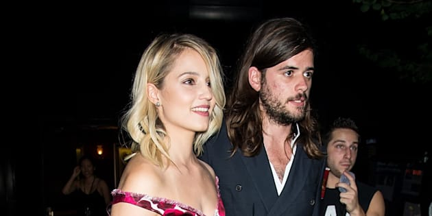 NEW YORK, NY - SEPTEMBER 17:  Actress Dianna Agron and musician Winston Marshall are seen leaving the Marc Jacobs during Spring 2016 New York Fashion Week on September 17, 2015 in New York City.  (Photo by Gilbert Carrasquillo/FilmMagic)