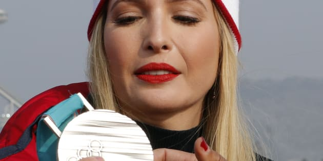 Bobsleigh - Pyeongchang 2018 Winter Olympics - Olympic Sliding Centre - Pyeongchang, South Korea - February 25, 2018 - President Donald Trump's daughter and senior White House adviser, Ivanka Trump looks at the silver medal of Lauren Gibbs of the U.S. REUTERS/Eric Gaillard