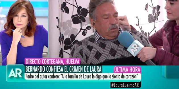 Ana Rosa Quintana entrevista al padre de Bernardo Montoya, asesino confeso de Laura Luelmo, en 'El Programa de AR' (Telecinco).