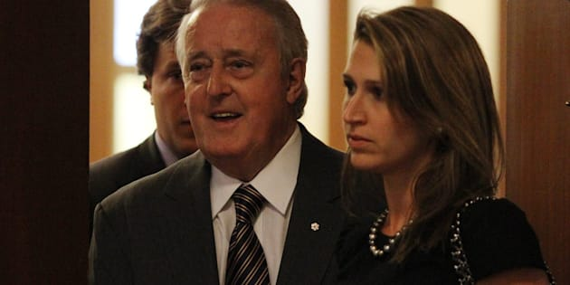 Former prime minister Brian Mulroney and his daughter Caroline arrives for the Spirit of Hope benefit in Toronto on May 31, 2010.
