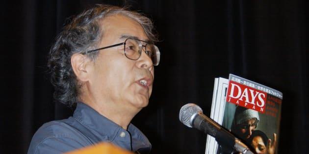 「日本人人質事件を考える緊急集会」で、イラクで拘束されたとみられる日本人の解放と政府の対応を訴えるフォトジャーナリストの広河隆一氏(東京・中野区)