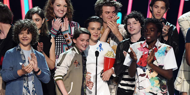 LOS ANGELES, CA - MAY 07:  The cast of 'Stranger Things' accepts Show of the Year onstage during the 2017 MTV Movie And TV Awards at The Shrine Auditorium on May 7, 2017 in Los Angeles, California.  (Photo by Kevin Winter/Getty Images)