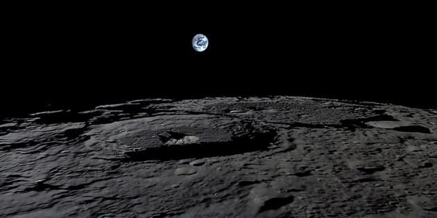 月面から見た地球。©︎JAXA, NHK