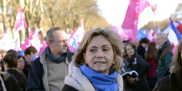 Valérie Pécresse lors d'un défilé de La Manif pour tous en décembre 2013.