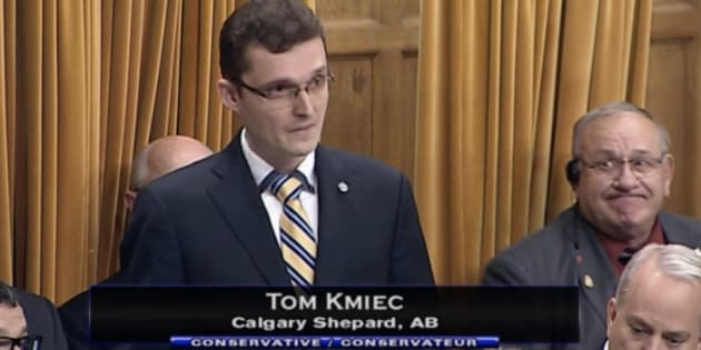 Conservative MP Tom Kmiec is shown in the House of Commons on Oct. 15, 2018.