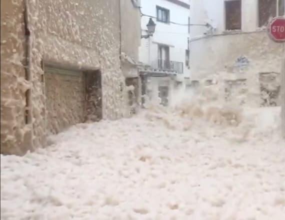 Video shows storm blanketing town in sea foam