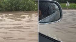 Près d'Avignon, les fortes pluies ont transformé l'autoroute A7 en