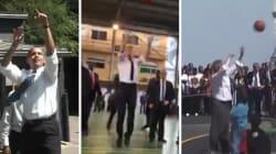 Au Nigeria, Macron a prouvé qu'il joue moins bien au basket qu'Obama et
