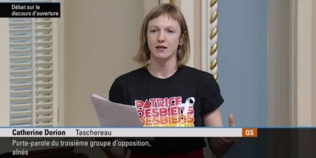 La députée de Taschereau, Catherine Dorion, a livré un discours sur la culture, la solitude et la lutte pour son premier discours au Salon bleu.