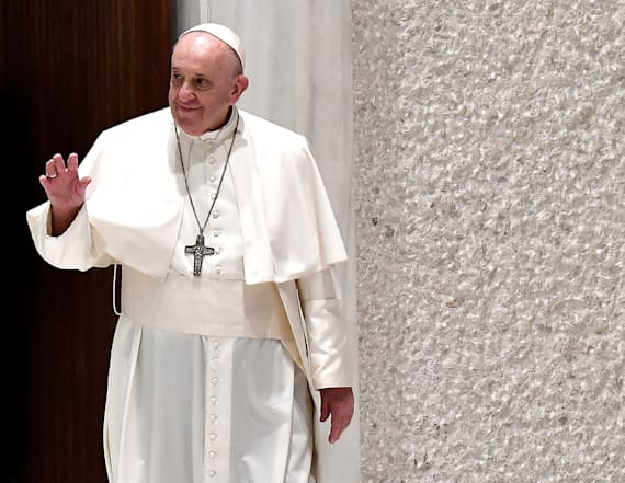 Maskless pope blame 'lady called COVID' for distance