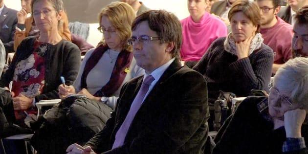 El expresidente de la Generalitat Carles Puigdemont, en una de sus últimas apariciones públicas en Bruselas.