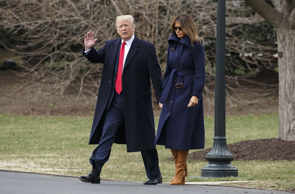 President Trump saves the day after Melania Trump trips in heels