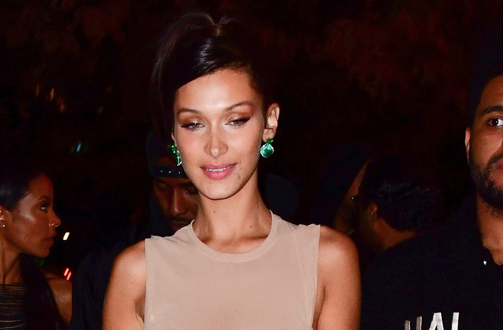 e60f9c425d7a Bella Hadid dons see-through dress at Victoria's Secret after-after party