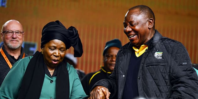 Cyril Ramaphosa and Nkosazana Dlamini-Zuma share a light moment during the ANC's national policy conference held early July at the Nasrec Expo Centre.