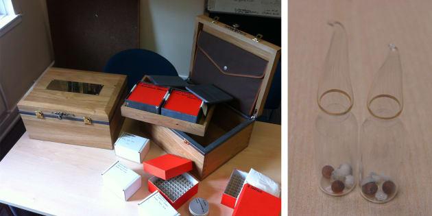 Dans ces boites en bois, des tubes en verre avec des bactéries pour une expérience scientifique qui doit durer 500 ans.