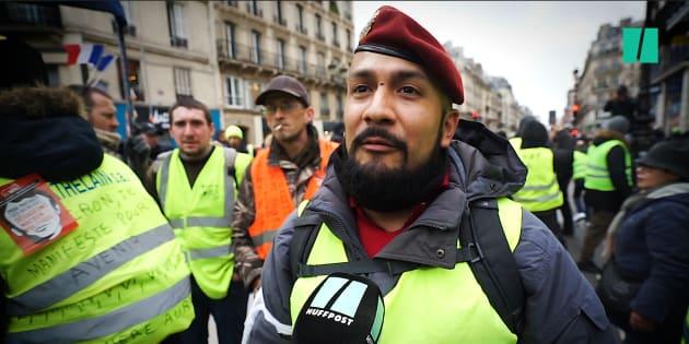 Victor Lenta, interviewé le 12 janvier par Le HuffPost à la manifestation parisienne des gilets jaunes.