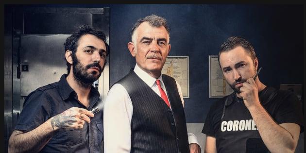 """De gauche à droite, Fabio Soares, Stefan Godin alias """"Le Coroner"""" et Mike Zonnenberg."""