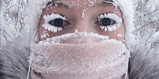 Anastasia Gruzdeva poses for selfie as the Temperature dropped to about -50 degrees (-58 degrees Fahrenheit) in Yakutsk, Russia.