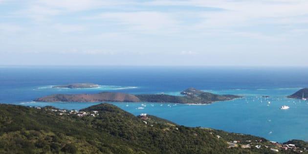 Une vue aérienne des Iles Vierges.