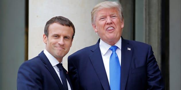 Emmanuel Macron recibe en el Palacio del Elíseo de París a Donald Trump, el pasado julio.