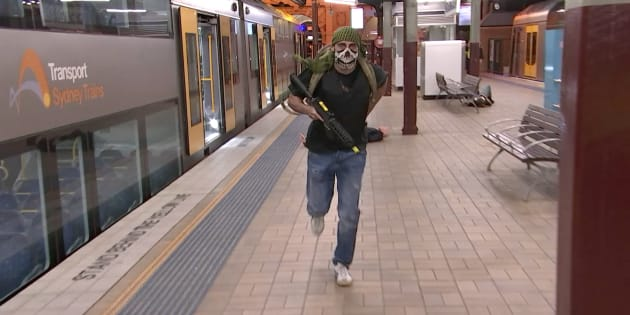 An image of one of the actors playing a gunman at Central Station.