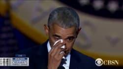 Obama n'a pas pu retenir ses larmes en évoquant Michelle pendant son dernier