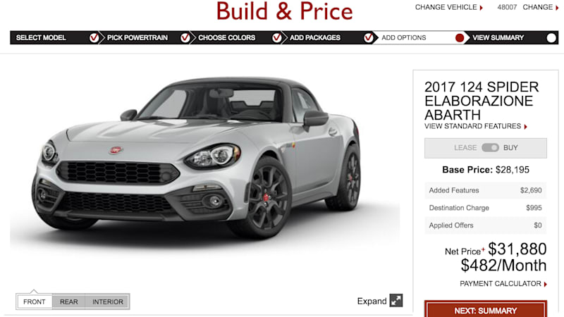 The Fiat 124 Spider Configurator Is Live Autoblog