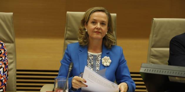 La ministra de Empresa, Nadia Calviño, comparece este martes en la Comisión de Economía y Empresa del Congreso.