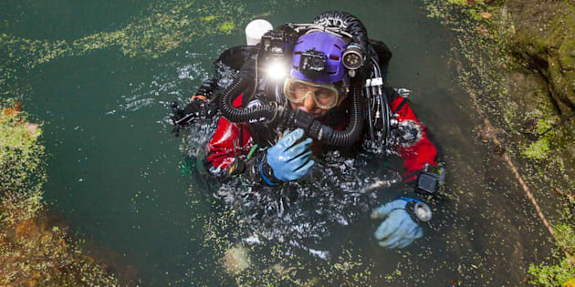 Krzysztof Starnawski returns to the surface after an hourslong dive in Hranicka Propast a cave in the Czech Republic