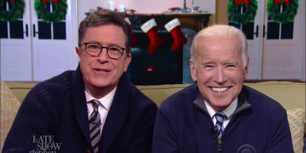 Stephen Colbert and Joe Biden