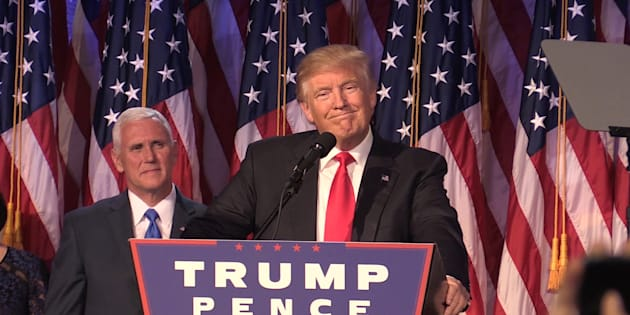 Donald Trump as he makes his acceptance speech in New York following his victory to become he 45th president of the United States.