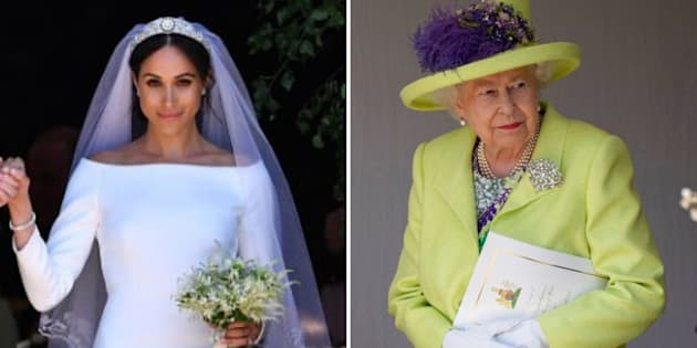 Meghan Markle, left, and Queen Elizabeth, right, on Markle's wedding day, May 19, 2018, in Windsor, England.