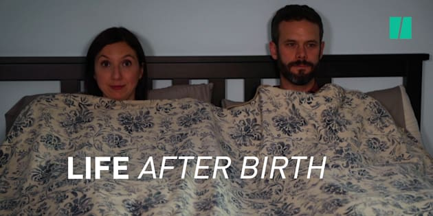 """HuffPost Canada Parents Editor Natalie Stechyson and her husband being not at all awkward in the new postpartum sex episode of """"Life After Birth."""""""