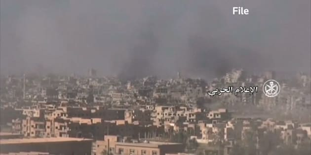 This image from archived video shows Homs, Syria.