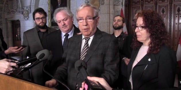 Bloc Quebecois MP Louis Plamondon announces he is quitting the party caucus in Ottawa on Feb.28, 2018.