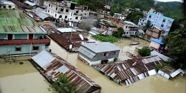 An aerial view showing the town half-submerged in floodwaters following landslides triggered by heavy rain in Khagrachari, Bangladesh, in this still frame taken from video June 13, 2017.