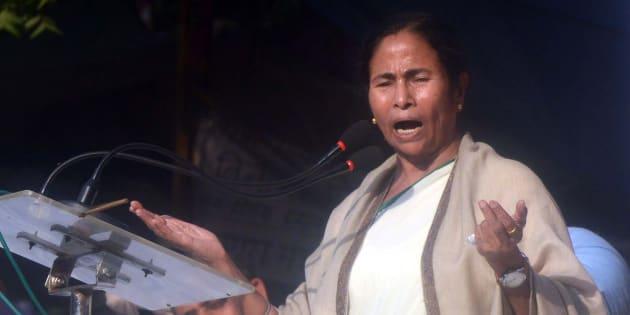 West Bengal Chief Minister Mamata Banerjee during a protest at Jantar Mantar in New Delhi.