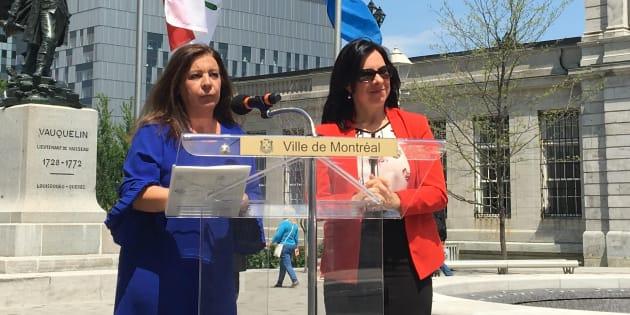 La mairesse de Sainte-Anne-de-Bellevue, Paola Hawa (gauche) et la mairesse de Montréal, Valérie Plante (droite).