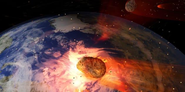 Una ilustración de un gran asteroide impactando la Tierra. Un impacto tan grande resultaría en la extinción de la mayor parte de la vida en la Tierra.
