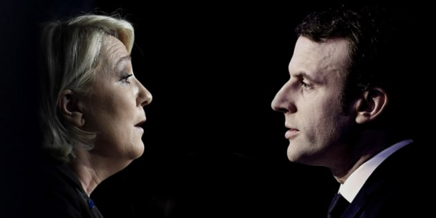 Imagen de archivo de Le Pen y Macron.