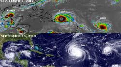 Les images de Irma, José et Katia rappellent étrangement la disposition de 3 ouragans de