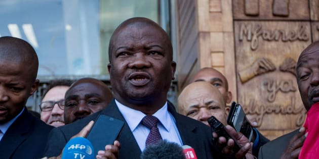 United Democratic Movement leader Bantu Holomisa speaks to the media at the Constitutional Court of South Africa in Johannesburg on June 22, 2017.