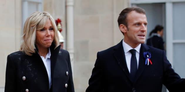 Emmanuel et Brigitte Macron à l'Élysée dans le cadre des commémorations de l'armistice