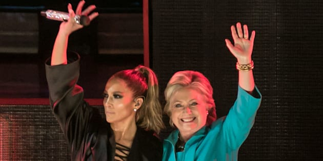 MIAMI, FL - OCTOBER 29:  Jennifer Lopez and Hillary Clinton are seen at the Jennifer Lopez Gets Loud for Hillary Clinton at GOTV Concert in Miami at Bayfront Park Amphitheatre on October 29, 2016 in Miami, Florida.  (Photo by John Parra/FilmMagic)